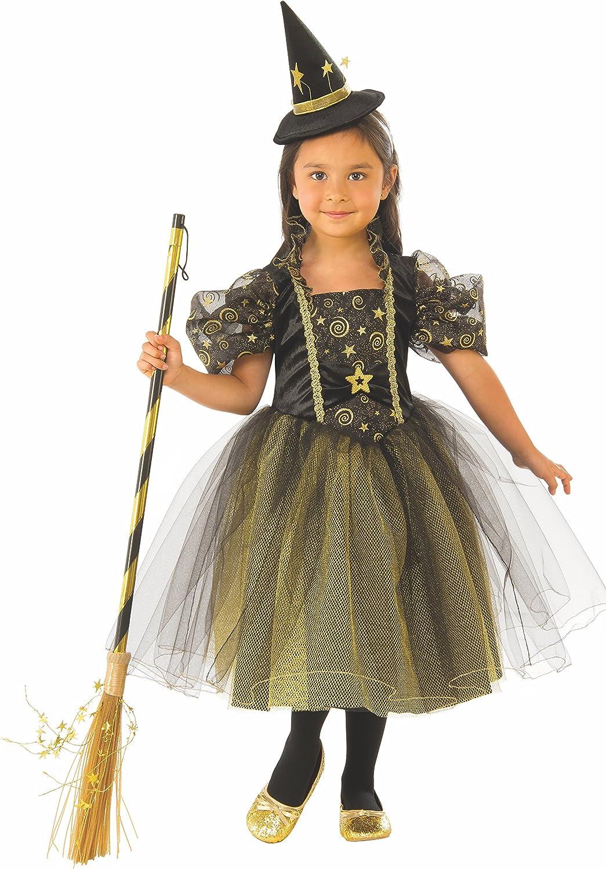 Halloween - Disfraz de Bruja para niña, verde con estrellas - 3-4 ...
