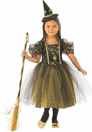Halloween - Disfraz de Bruja para niña, verde con estrellas - 5-7 ...