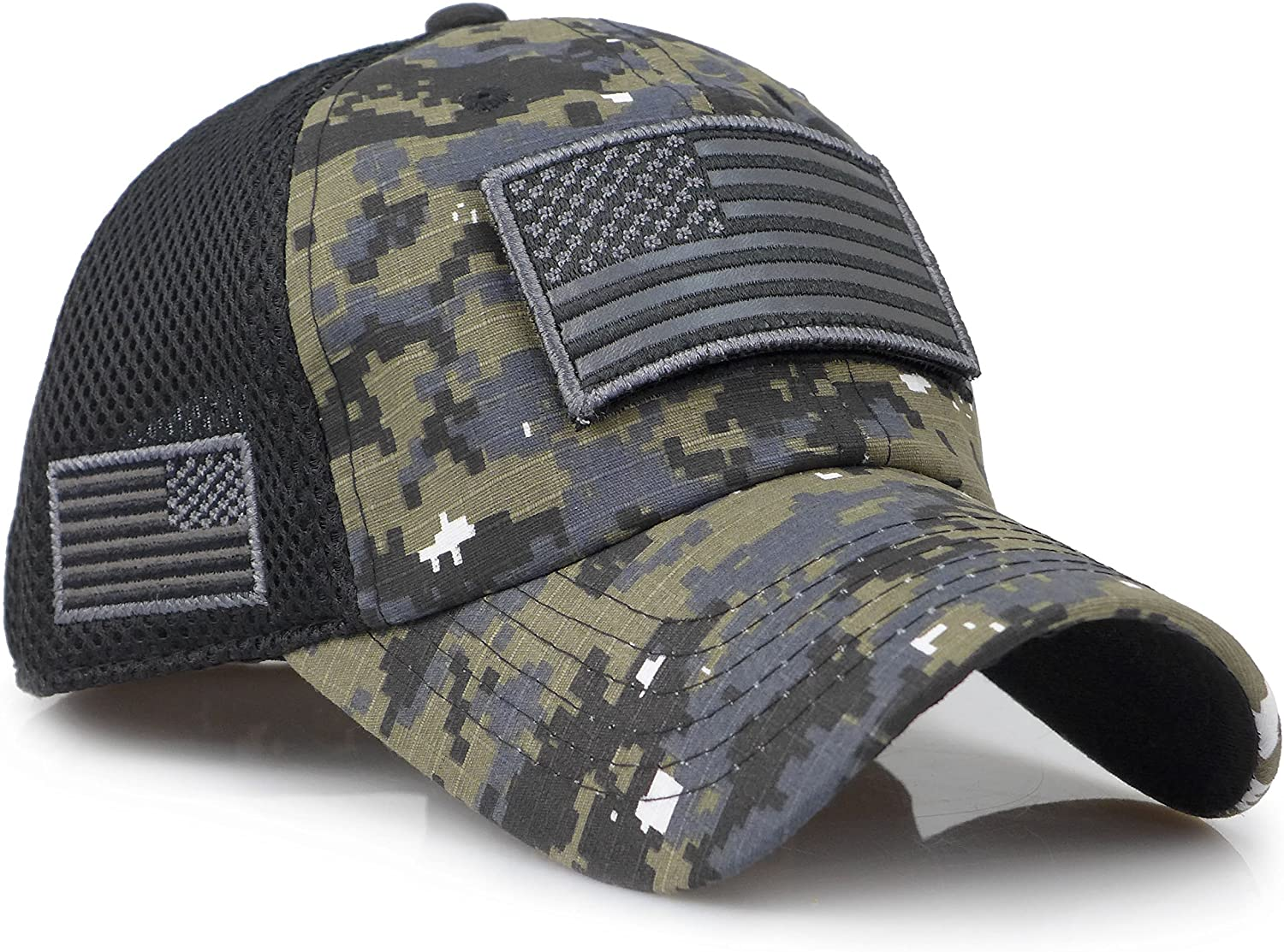 The Sox Market Camouflage Constructed Trucker Special Tactical Operator Forces USA Flag Patch Baseball Cap (Digital Black): Clothing