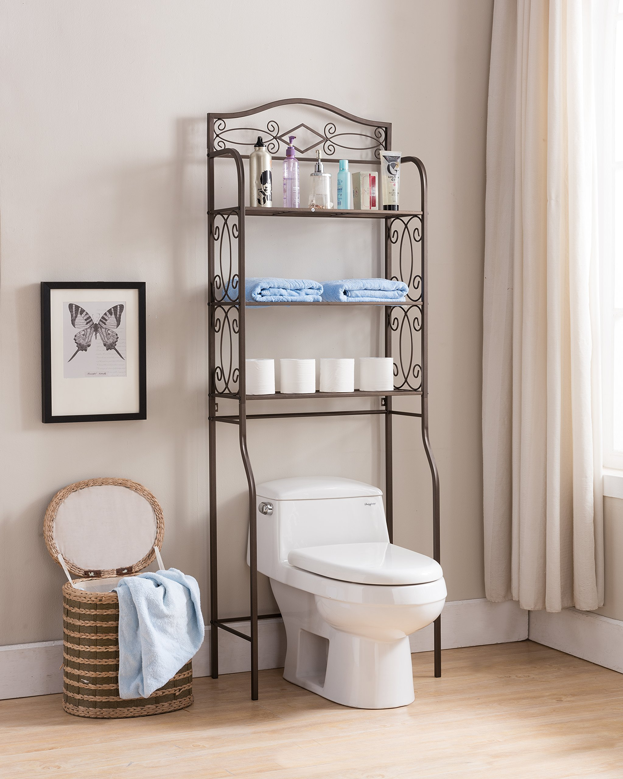 Kings Brand Furniture - Over The Toilet Storage Etagere Bathroom Rack Shelves Organizer, Pewter by Kings Brand Furniture