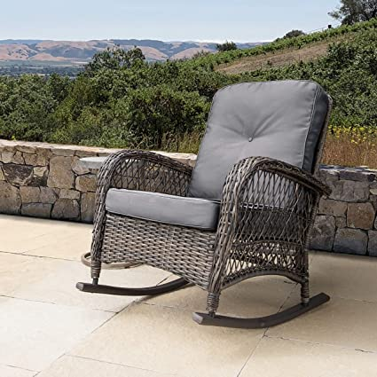 Swell Amazon Com Outdoor Wicker Rocking Chair With Cushions Grey Machost Co Dining Chair Design Ideas Machostcouk