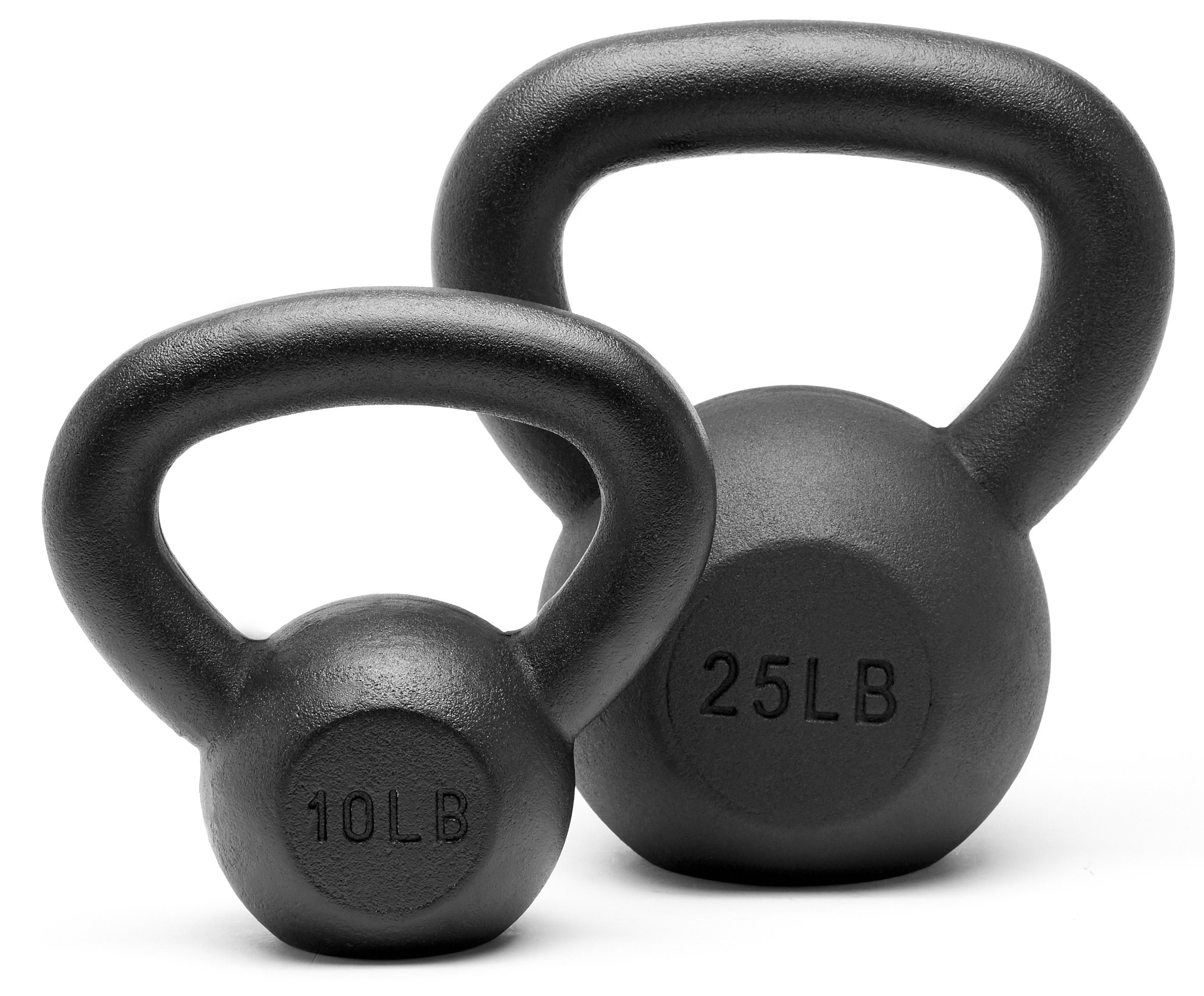 Unipack Powder Coated Solid Cast Iron Kettlebell Weights Set- (10+25lbs)