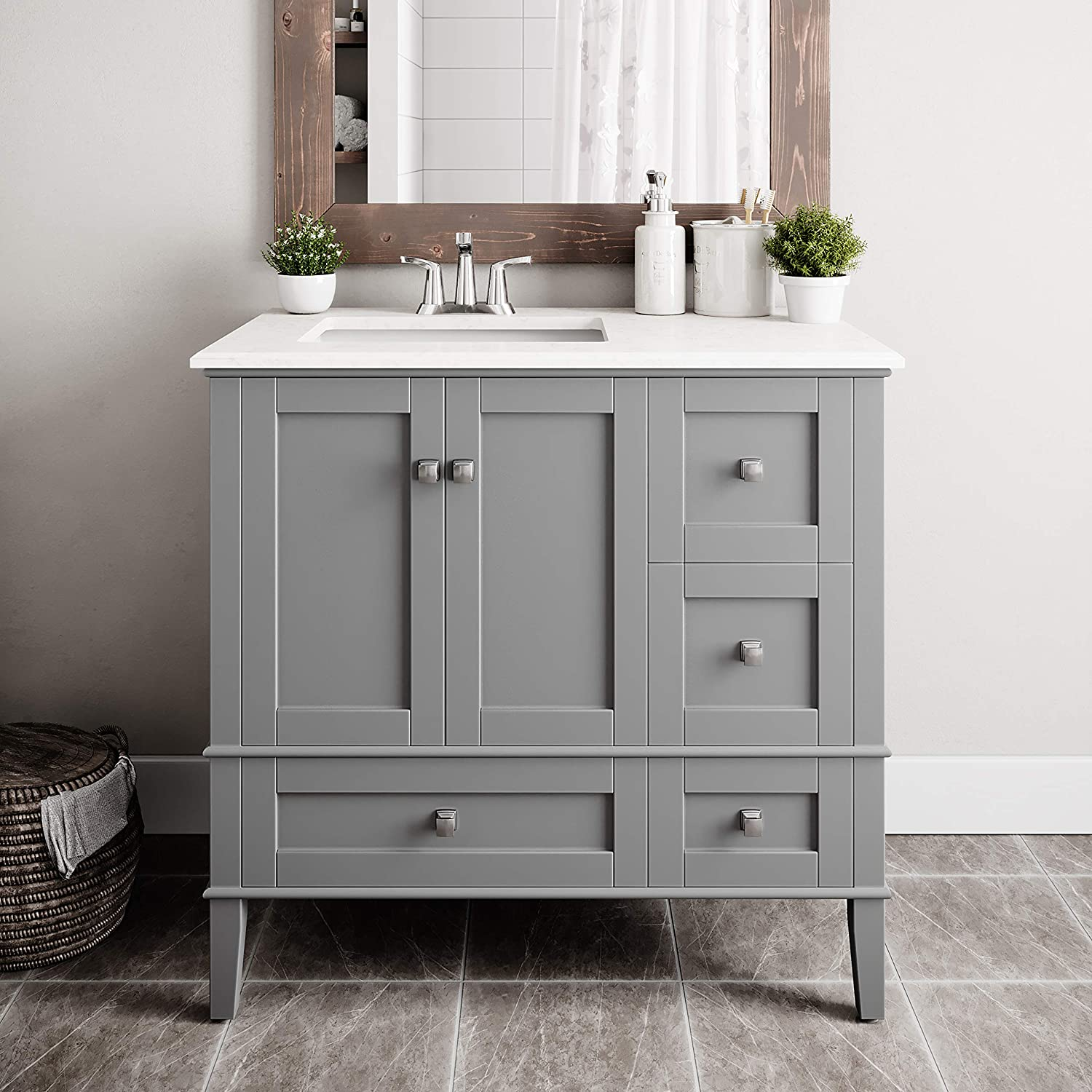 SIMPLIHOME Chelsea 36 inch Contemporary Bath Vanity in Smoke Grey with White Engineered Quartz Marble Top
