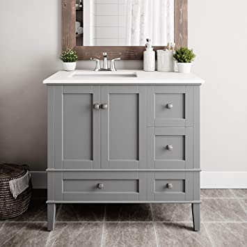 Simplihome Axcvrchesg 36r Chelsea 36 Inch Right Offset White Engineered Quartz Marble Top Bath Vanity Top Base Combinations Smoke Grey Amazon Com