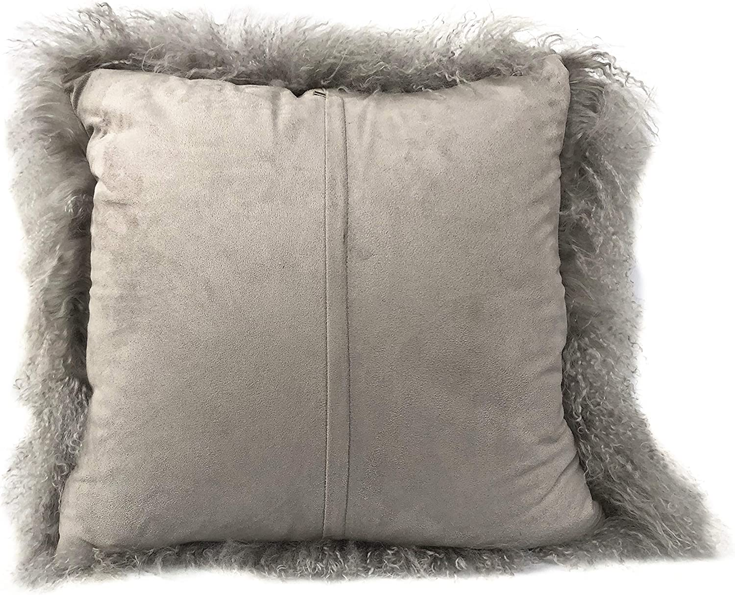 100/% Real Mongolian Lamb Fur Curly Wool Rectangle Throw Pillow Cushion Decorative Pillow for Living Room Bedroom Car,Pillow Insert Included,12x20in,Dark Gray