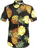 SSLR Men's Pineapple Short Sleeve Aloha Cotton Hawaiian Shirts