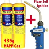 TT2000 Max Gas Torch + 2x MAPP 435g Bottle Disposable Cylinder plumbers jet burner