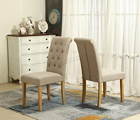 Nice WestWood Furniture Set Of 4 Premium Cream Linen Fabric Dining Chairs Roll  Top Scroll High Back