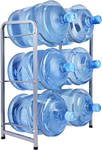 Ationgle 5 Gallon Water Cooler Jug Rack for 6 Bottles, 3-Tier Detachable Water Bottle Holder Heavy Duty Q235 Carbon Steel Water Jug Organizer with Floor Protection for Kitchen Office Home