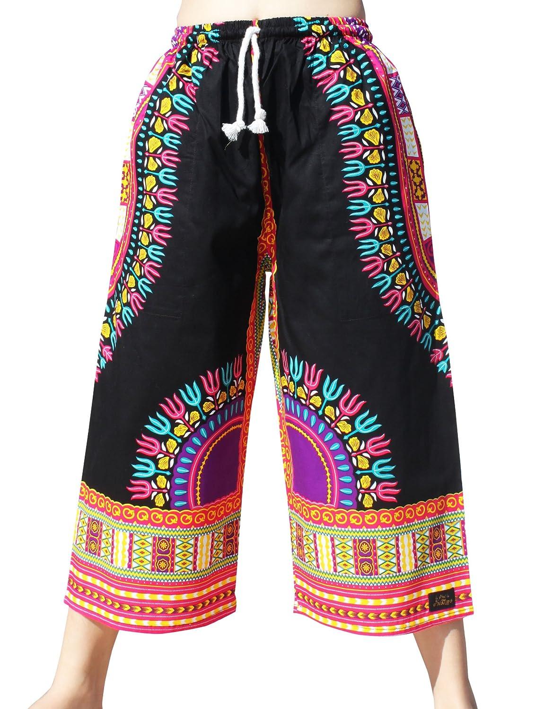 Raan Pah Muang RaanPahMuang Elastic Waist Casual African Dashiki Shorts 3/4 Leg Capri variant28360AMZ