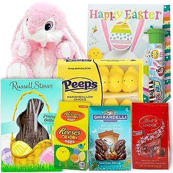 Easter Basket Gift Bag | 8 Inch Bunny Plush, Lindt Lindor Truffles, Ghirardelli Bunny