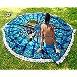 Americana Decor's Mandala Round Roundie Beach throw, tapestry Hippy Boho Tablecloth Beach Towel blue With Boho Jewelry Earrings