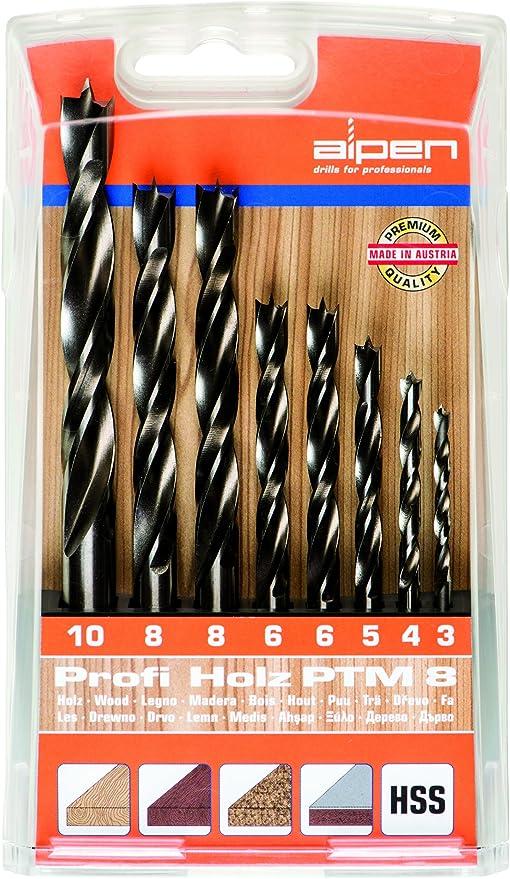 5 tlg Holzbohrer Set  Ø 4  5  6  8 10 mm HSS Spiralbohrer Holz-Kunststoff-Bohrer