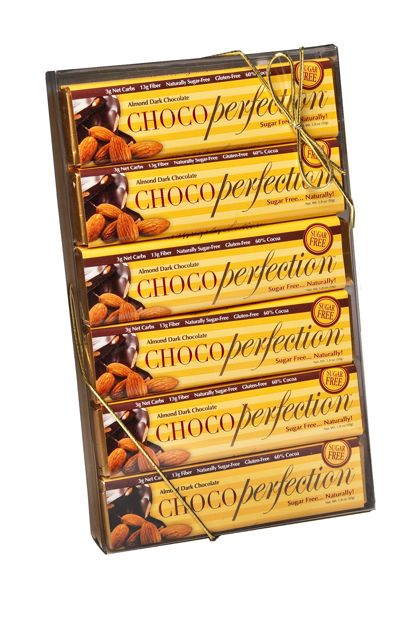 ChocoPerfection Dark Almond Sugar Free Chocolate, Gift Box of 12 50g Bars by ChocoPerfection