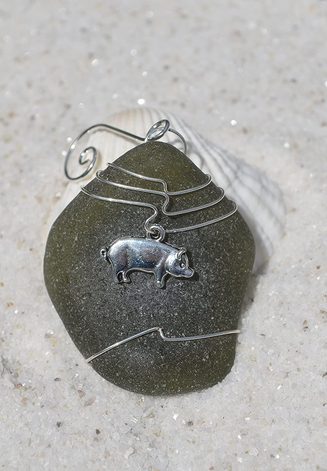 Amazon.com: Pig on a Genuine Dark Olive Green Sea Glass Ornament: Handmade