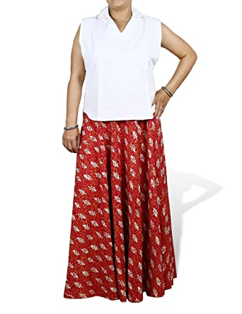 a0368fb95f4 Maxi Red Skirt Long Plus Size Gypsy Block Print Cotton Summer Clothes  Indian Size 20  Amazon.co.uk  Clothing