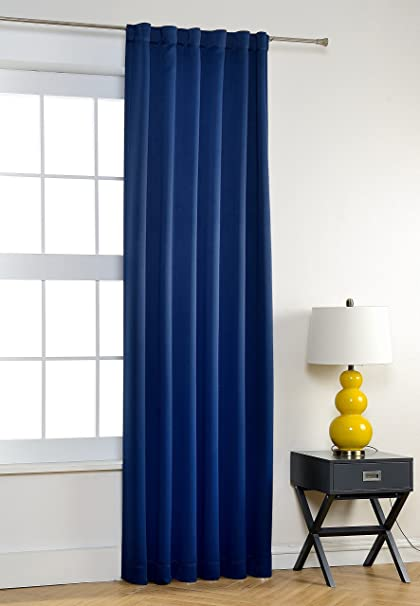 MYSKY HOME Navy Blackout Curtains Bedroom Thermal Insulated Back Tap Rod Pocket Sun Block Curtain Panel