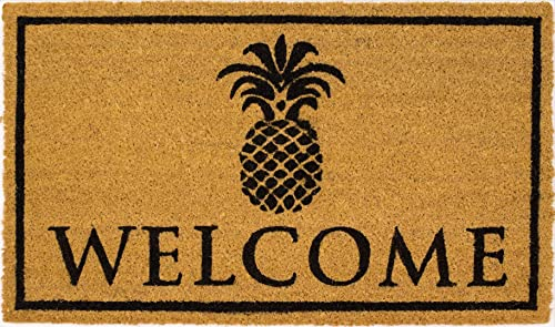 Avera Products Pineapple Welcome Mat, All Natural Coir Fiber with Anti-Slip PVC Backing, 17×29 ADB022
