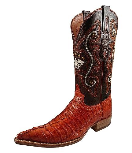 a53389aa257 Amazon.com | El General Exotic Cowboy Boots Leather Cognac | Western
