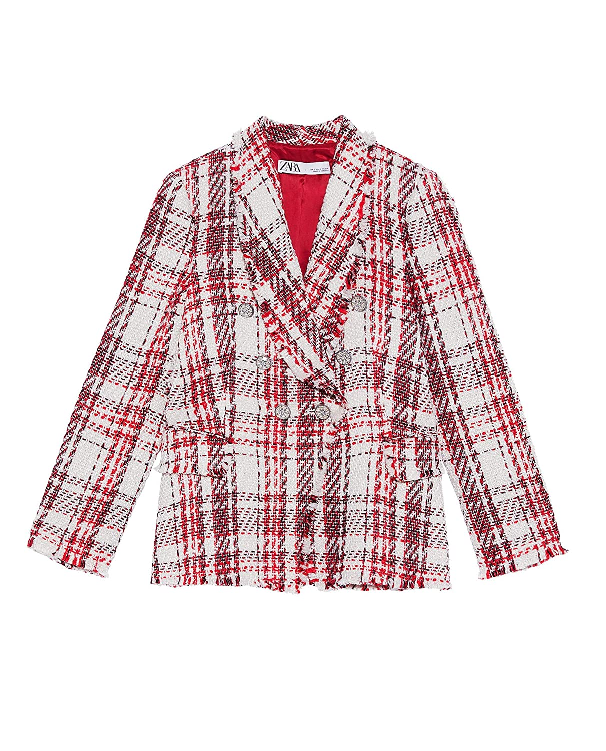 41cc4253 Zara Women's Tweed Jacket with gem Button 2135/614: Amazon.co.uk: Clothing