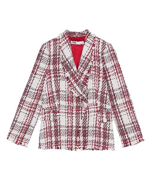 6f3fa18f Zara Women's Tweed Jacket with gem Button 2135/614: Amazon.co.uk ...