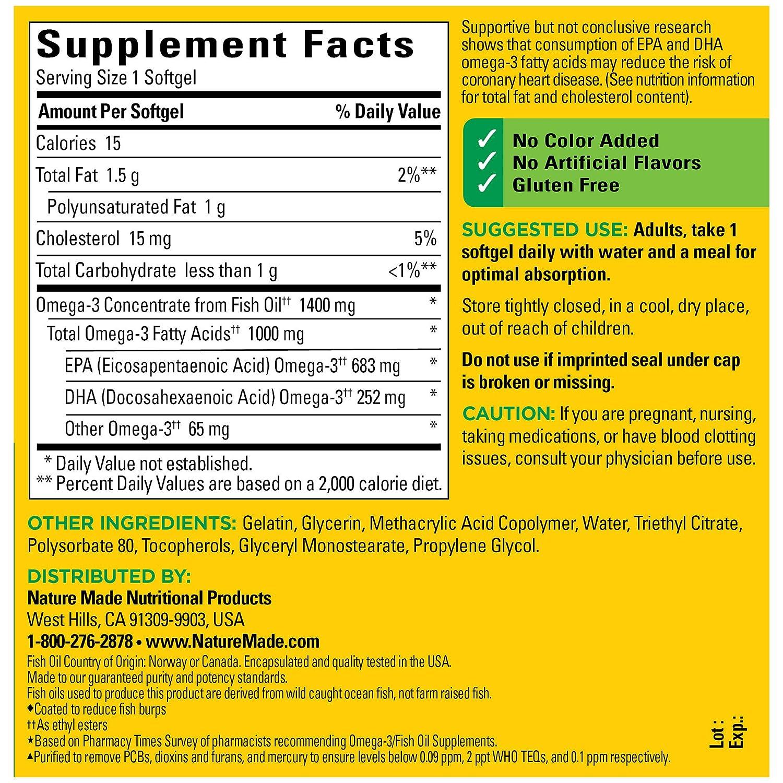Amazon.com: Nature Made Ultra Omega-3 Fish Oil 1400 mg ...