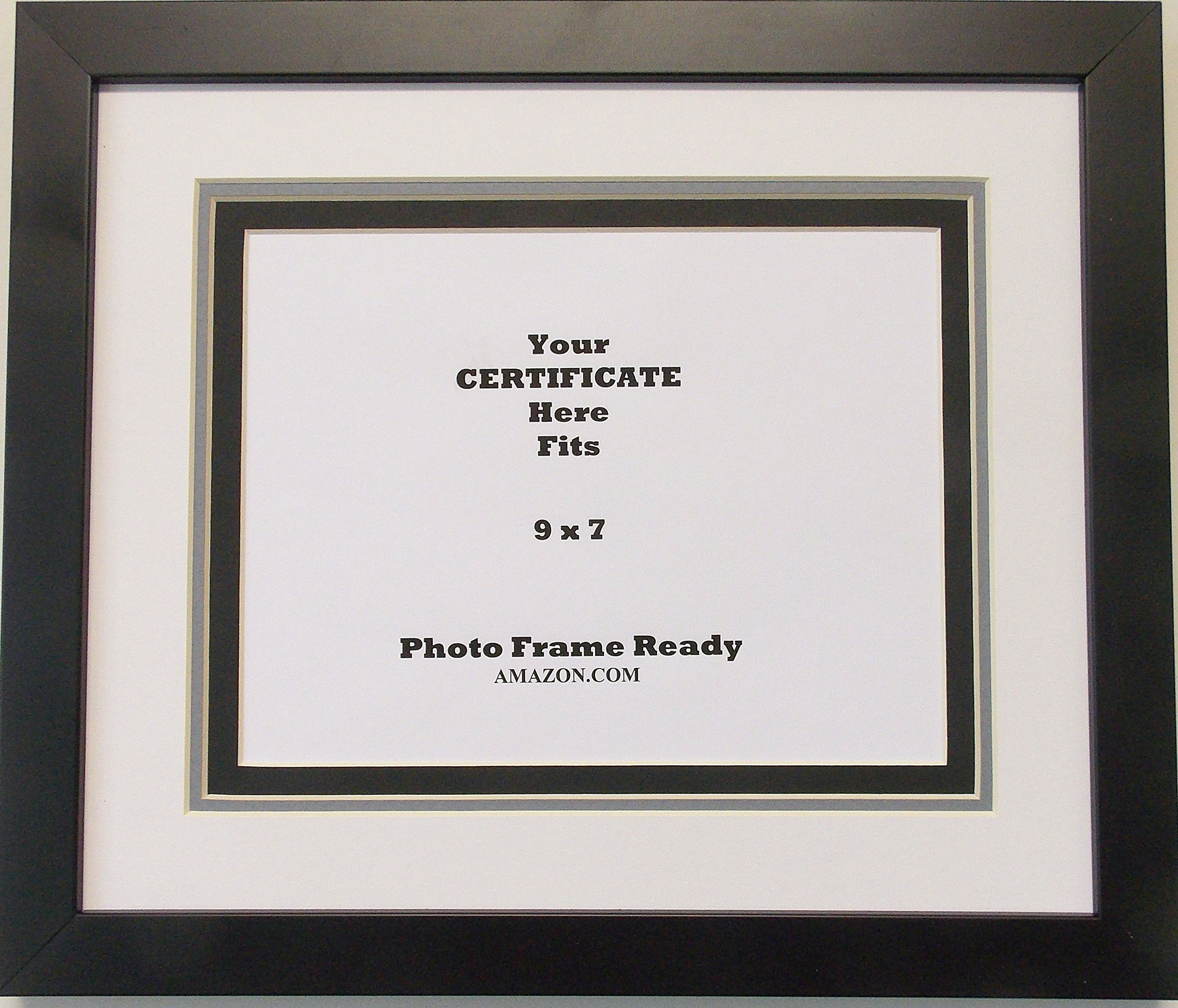 Graduation University Diploma Certificate Picture Frame Holds 9x7 Certificate Triple Matted Black Frame