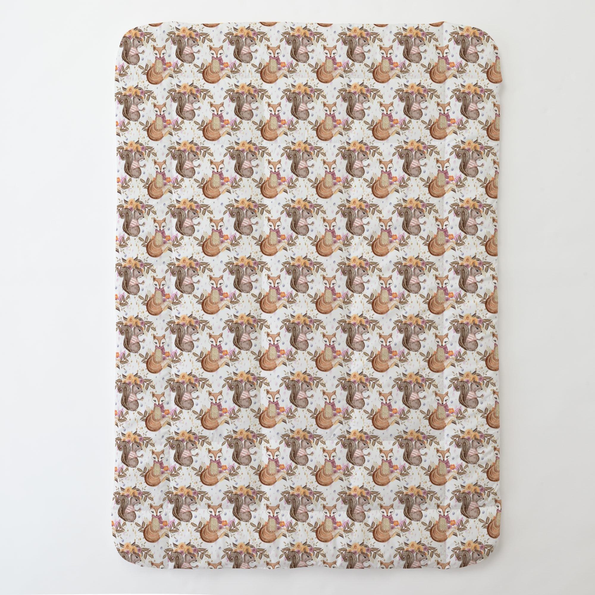 Carousel Designs Floral Fox Toddler Bed Comforter