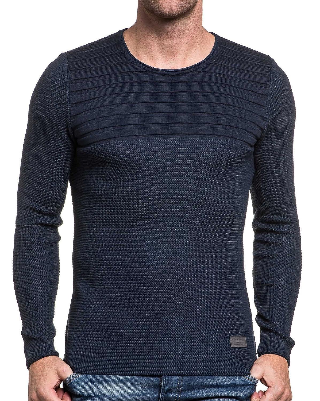 BLZ jeans - fine knit jumper ribbed crew neck navy