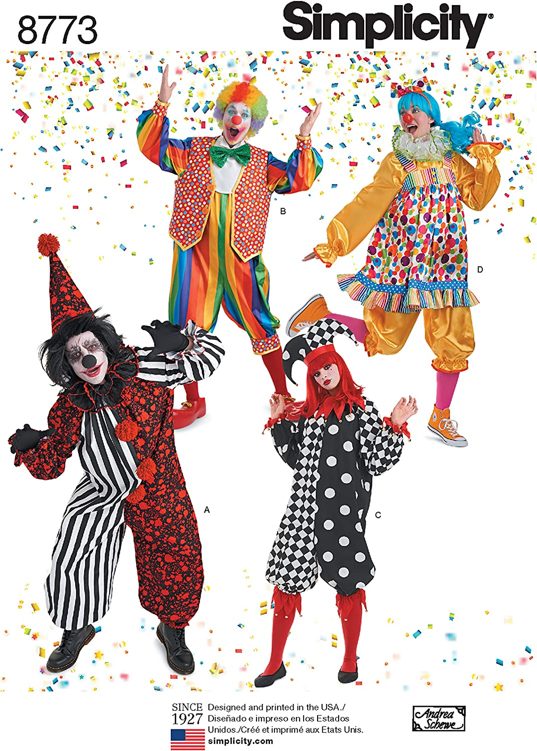 Simplicity 8773 Adult Clown Costume Sewing Pattern, Sizes XS-XL