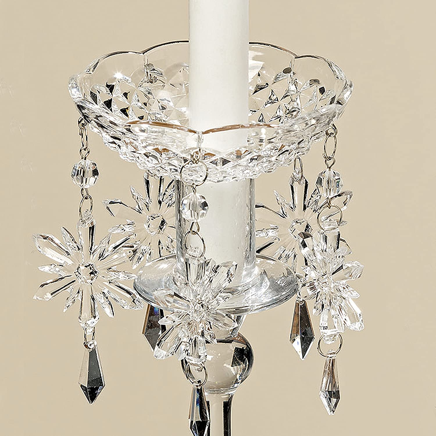 Crystal Snowflake Jewel Drop Bobeche Candle Ring