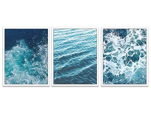 Black White Surfing Wall Art Set Coastal Poster Set Of 3 Sea Life Poster