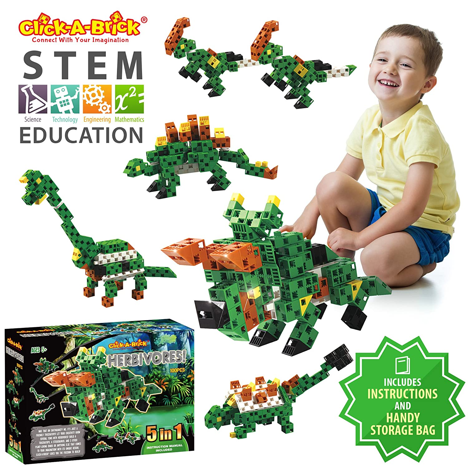 Click-A-Brick Herbivores! 100pc Building Blocks Set | Best STEM Toys for Boys & Girls Age 5 6 7 Year Old | Kids 3D Creative Puzzle Fun | Top Educational Learning Gift For Children Ages 5 - 12 Review