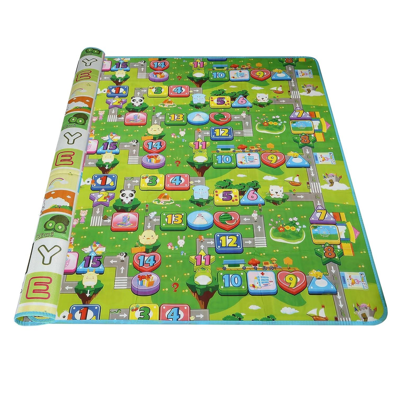 Arshiner Baby Spielteppich 200x180 Spielmatte Kinderteppich Zwei Seite für Innen / Außen Alphabet Zahlen und Geldsäcke AM001863_5