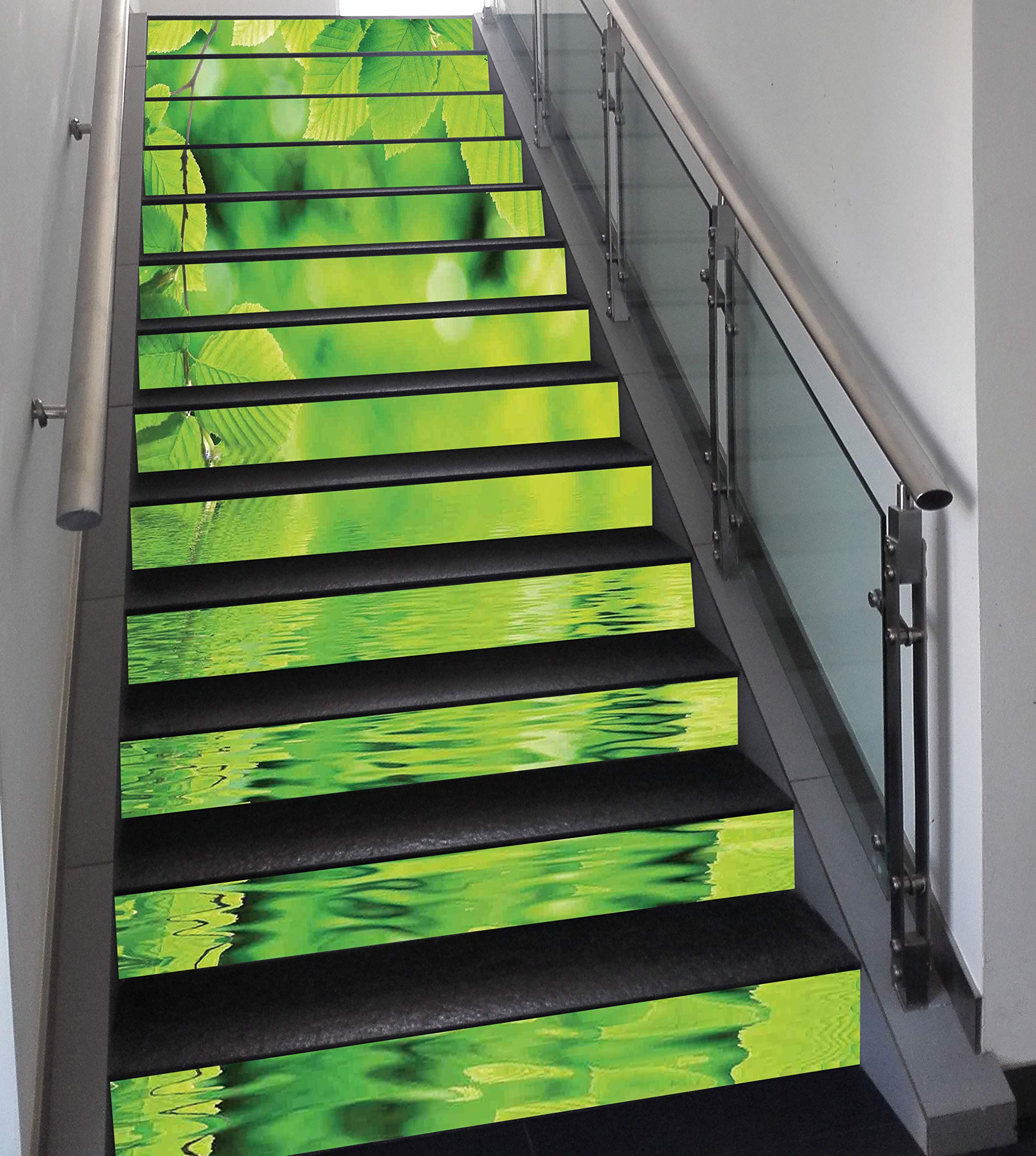Stair Stickers Wall Stickers,13 PCS Self-adhesive,Leaves,Leaves in Water Spa Open Your Chakra with Nature Meditation Ecological Monochrome Photo,Green,Stair Riser Decal for Living Room, Hall, Kids Roo