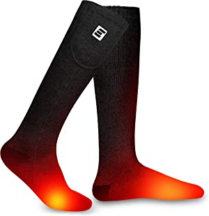 EEIEER Heated Socks for Men and Women, Upgraded Rechargeable Electric Winter Thermal Socks with 7.4V Battery - Warm Forefoot Instep Toes, 3 Heat Settings, Heating Up to 158℉