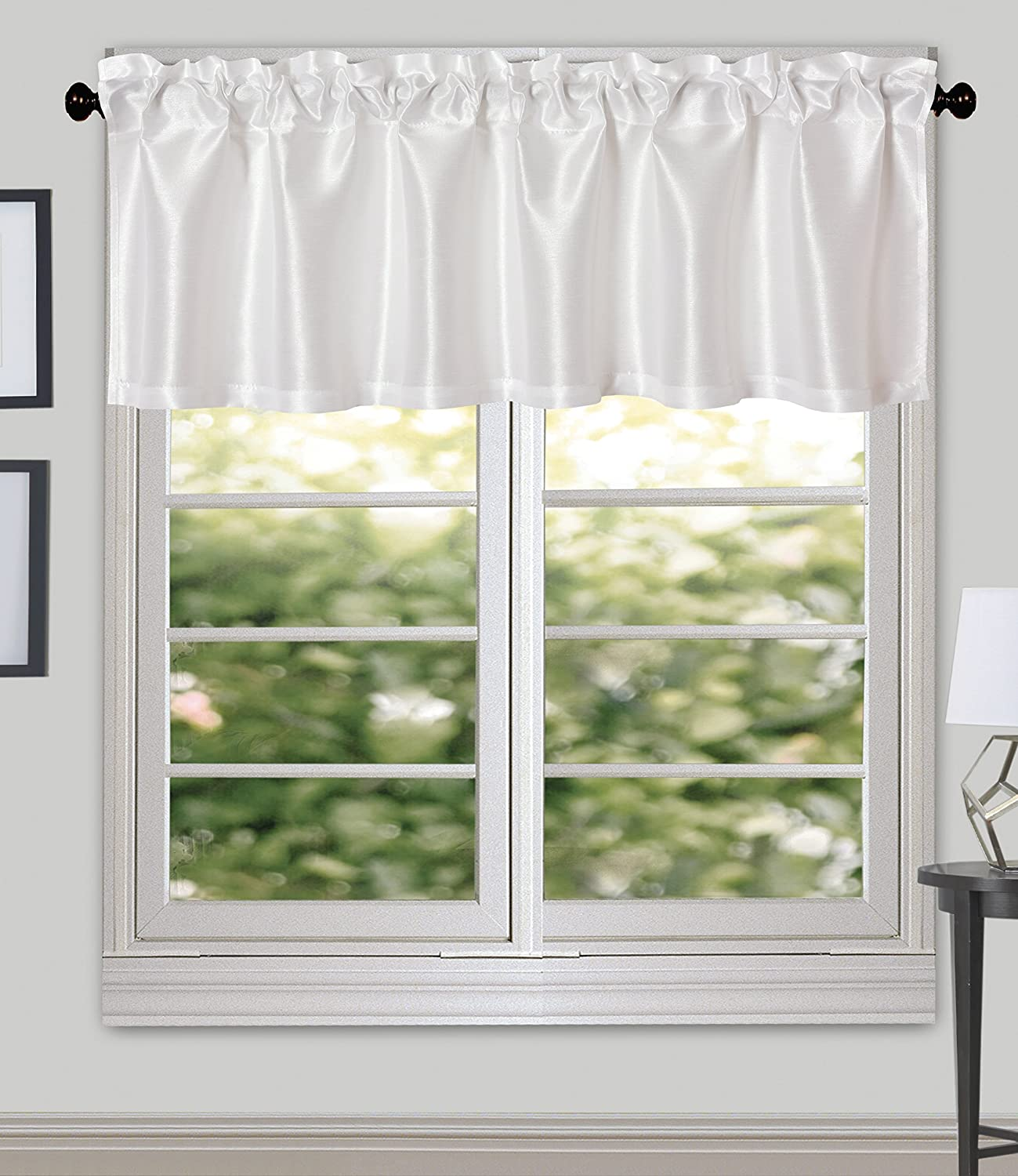 Pack of 2 Aqua Aiking Home 56 by 16 Inches Solid Faux Silk Window Valance