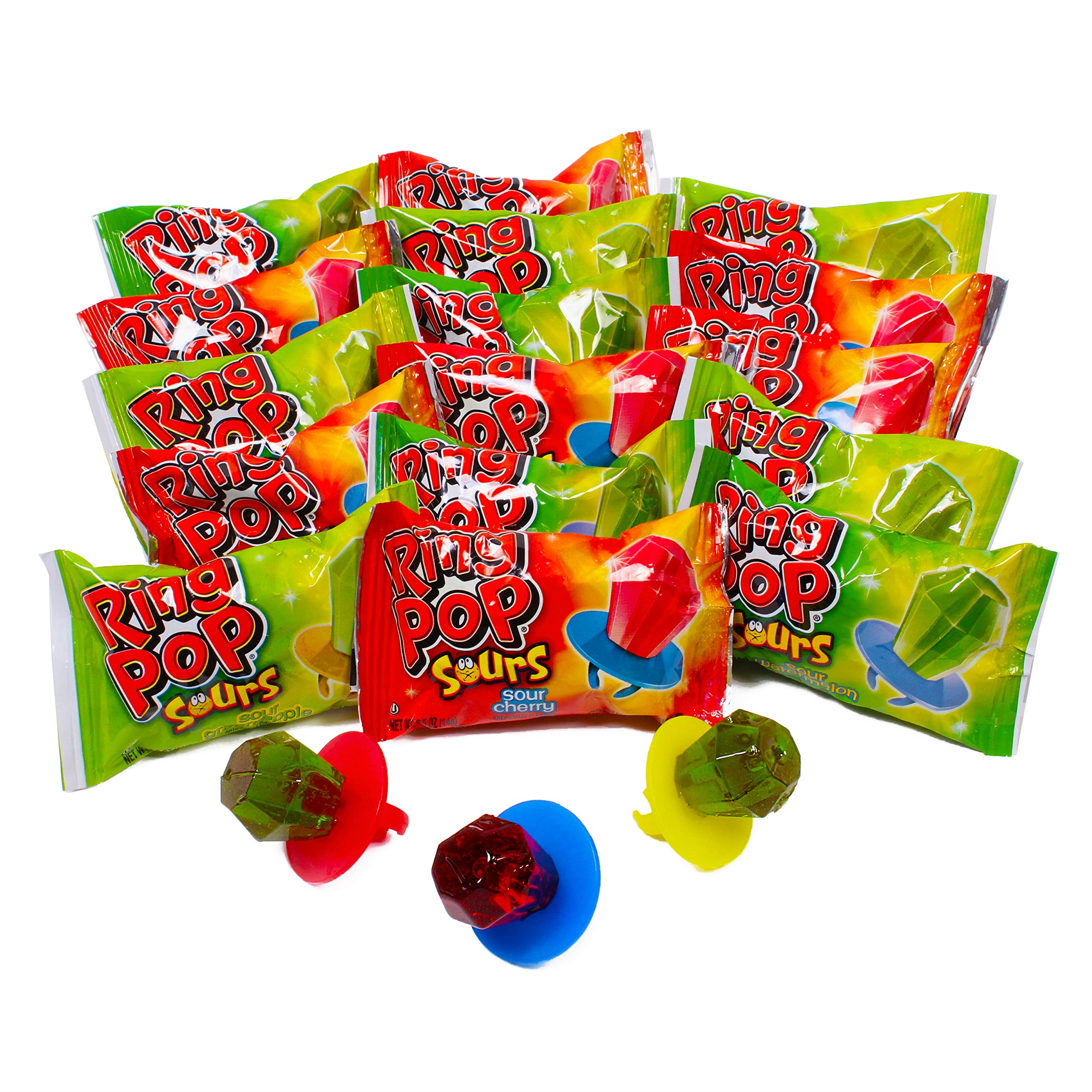 Ring POP Sours Individually Wrapped Bulk Variety Halloween Party Pack - Candy Lollipop Suckers W/ Assorted Flavors, 30 Count (Pack of 1) by Ring Pop