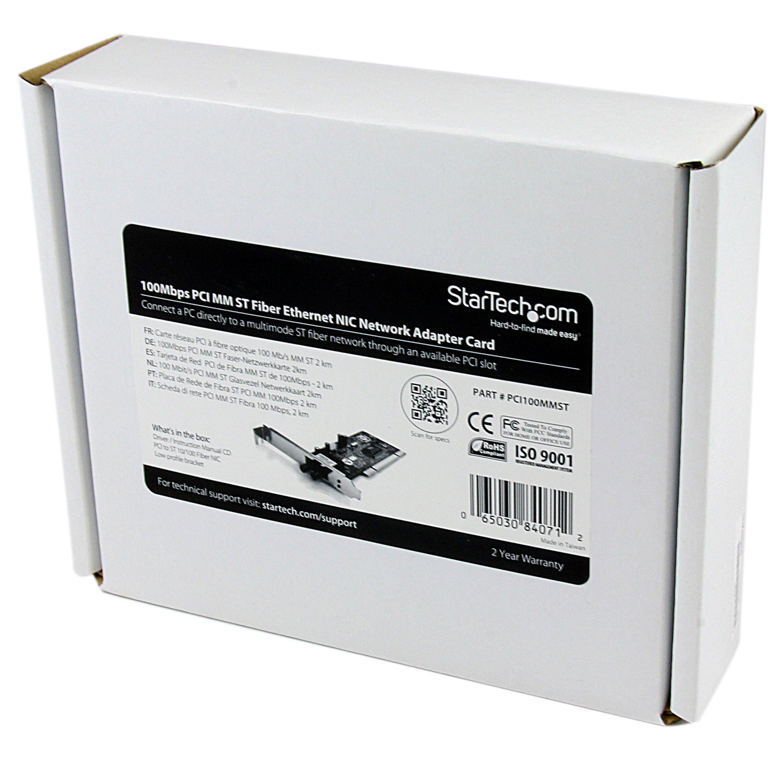 StarTech.com PCI100MMST 100Mbps PCI Multi Mode ST Fiber Ethernet NIC Network Adapter 2km by StarTech (Image #6)
