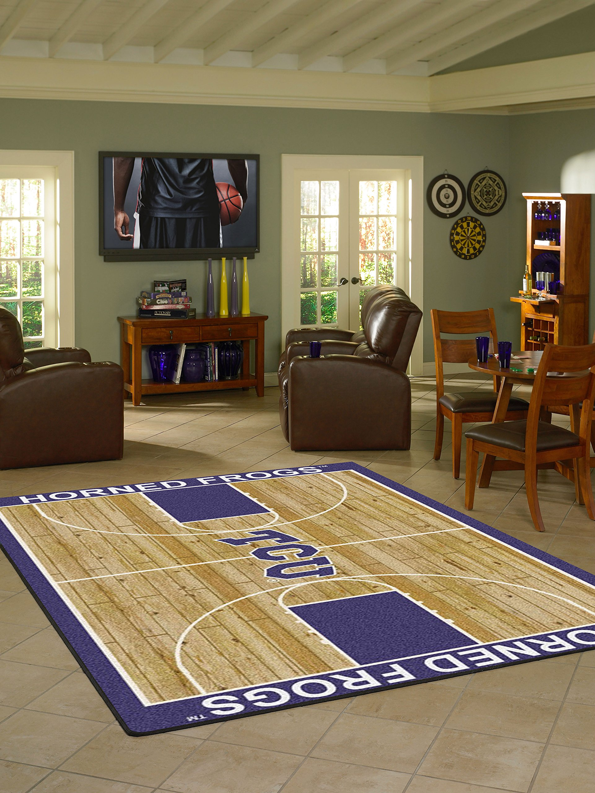 Milliken College Basketball Court Texas Christian 3'10'' x 5'4'' Rectangle Rug by SportsRugs4u