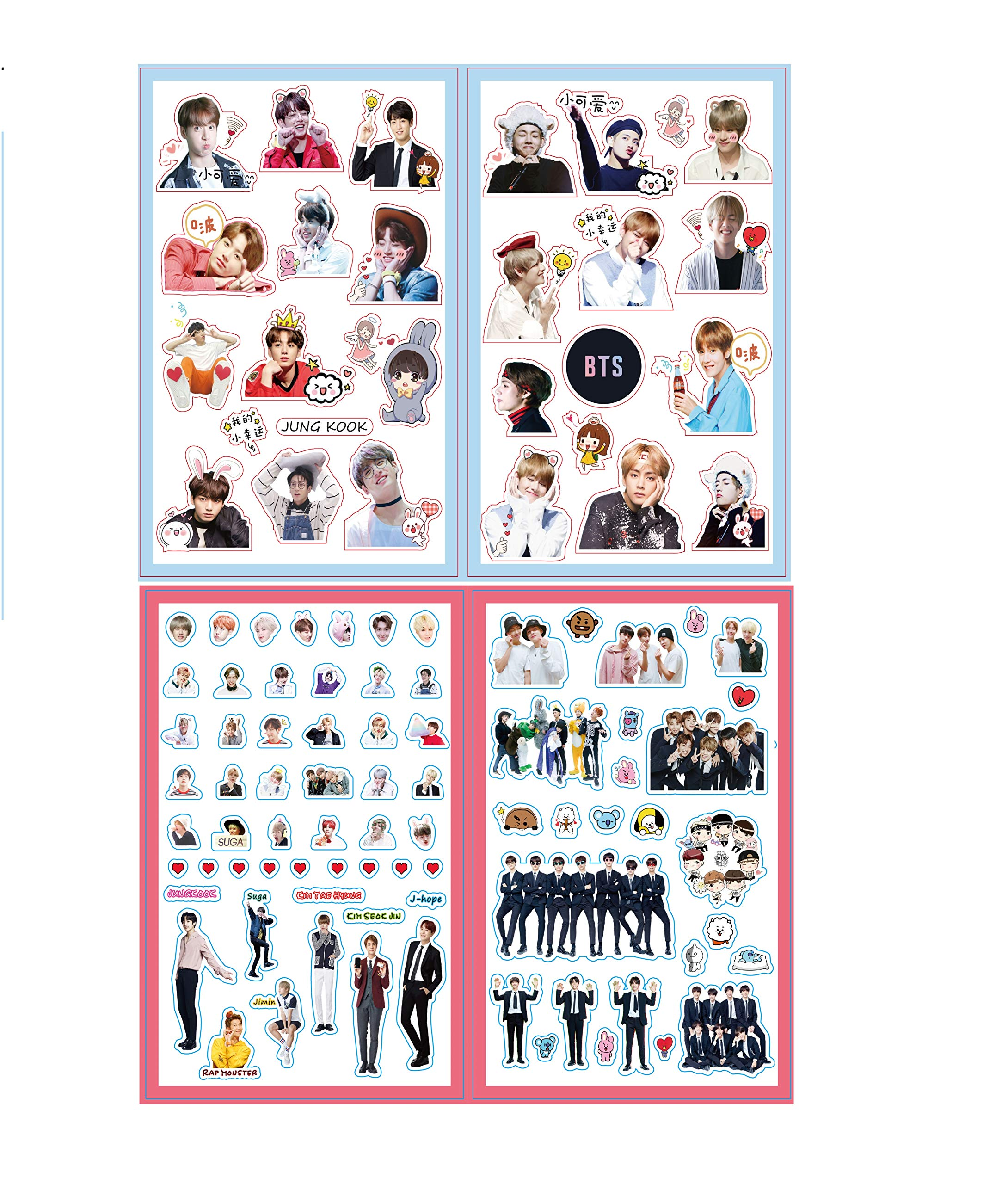 BTS Stickers and Facial Decals Paper Doll Sticker Pack Set for Phone Car Pad Laptop Water Bottles,Bangtan Boys Gift Set for Army by KPOPBTS (Image #9)