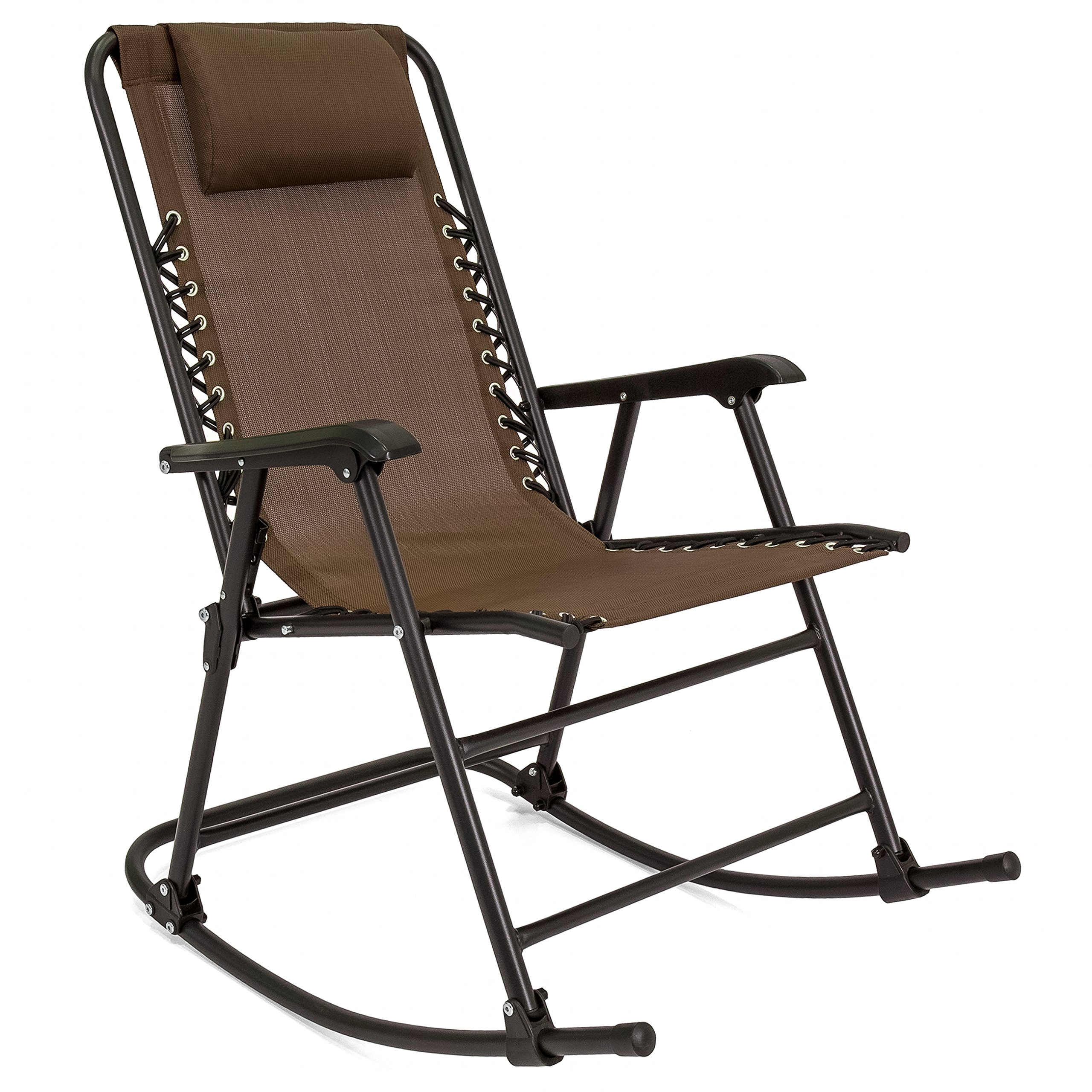 Best Choice Products Foldable Zero Gravity Rocking Patio Recliner Lounge Chair w/Headrest Pillow - Brown