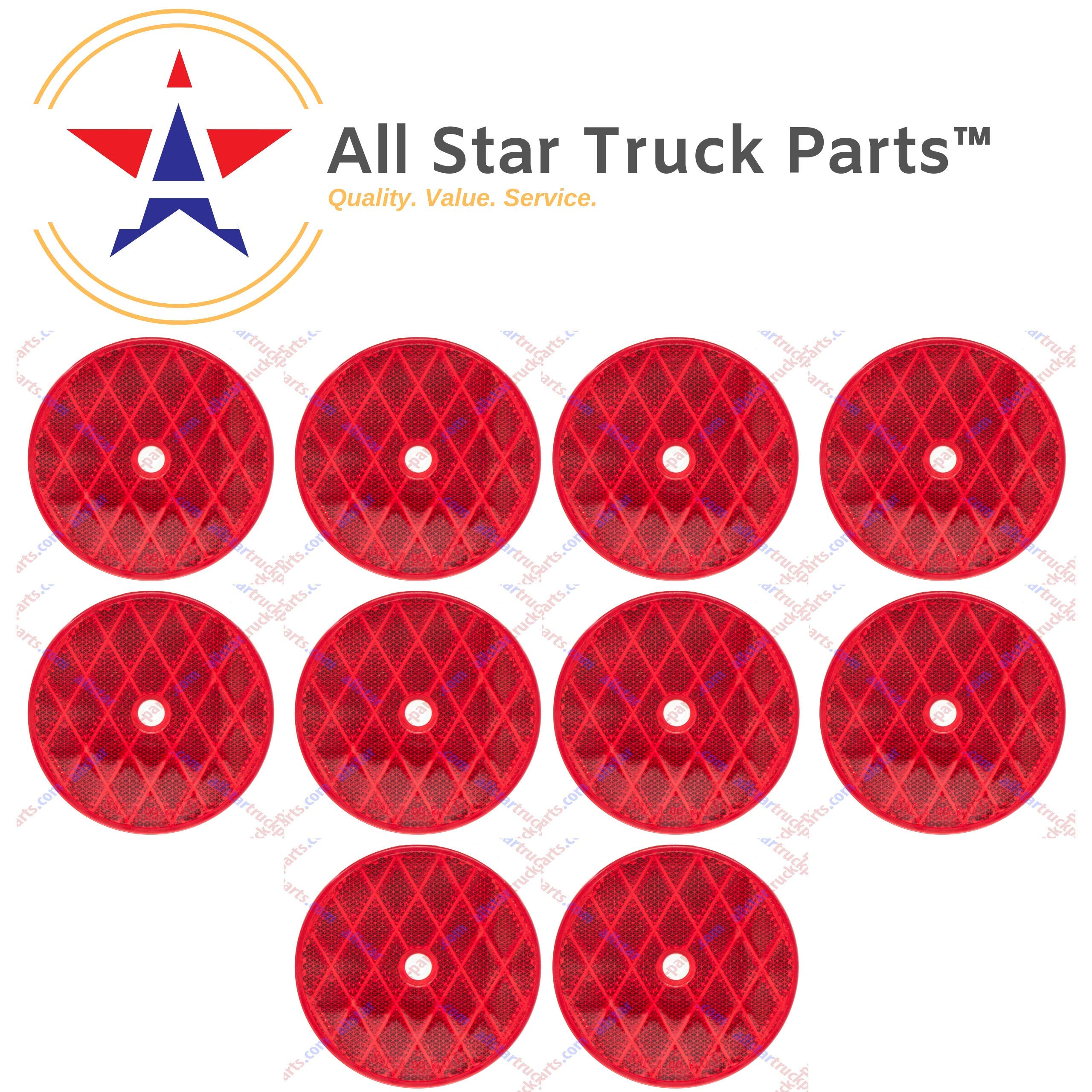 [ALL STAR TRUCK PARTS] Class A 3-3/16'' Round Red Reflector with Center Mounting Hole - 2 Pack for Trailers, Trucks, Automobiles, Mail Boxes, Boats, SUV's, RV's, Industrial Applications (Red, 10)