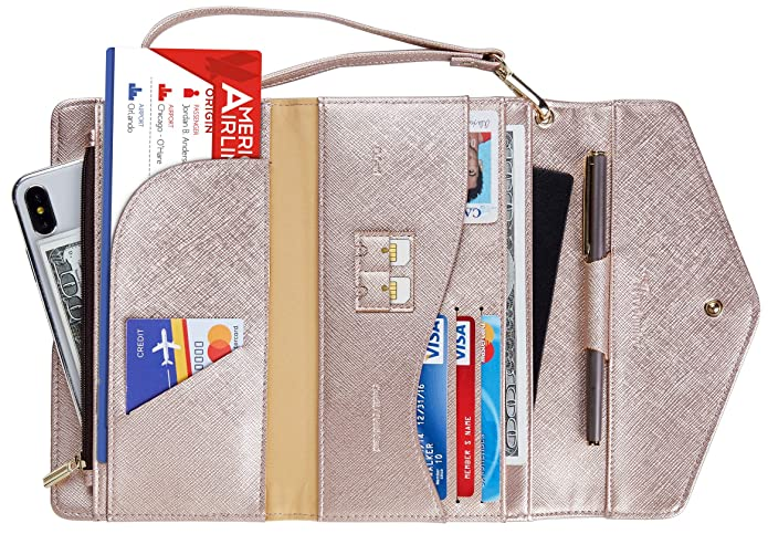 Travelambo Rfid Blocking Passport Holder Wallet & Travel Wallet Envelope Various Colors (SL Rose gold) best women's RFID wallets