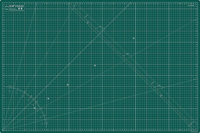La Canilla ® - Base de Corte Autocicatricante Patchwork A1 (90x60cm) Centímetros y Pulgadas con Cuadrícula Cutting Mat de 5 capas para Costura y Manualidades - Alfombrilla de Corte Profesional (Verde)