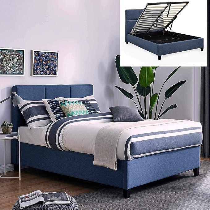 Movilier Deco - Cama baúl contemporánea de tela azul con somier abatible, 160 x 200 cm