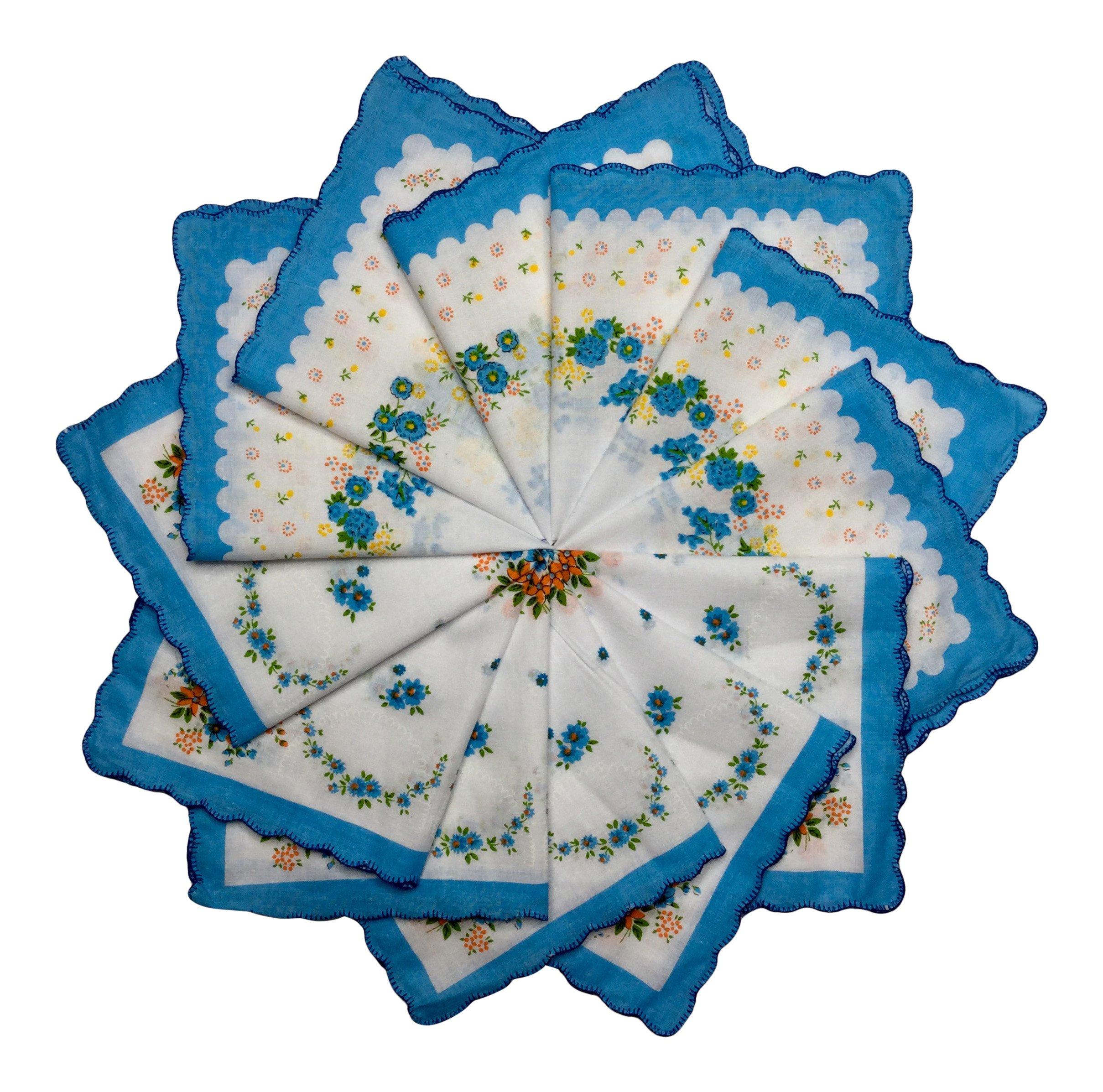 Women's Handkerchiefs 12 Pack Cotton Vintage Inspired Floral Designs (12 Bright Blue)