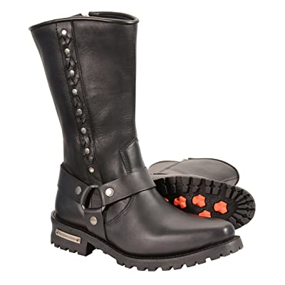 Milwaukee Leather Men's Harness Boots with Braid Riveted Details (Black, Size 14): Automotive