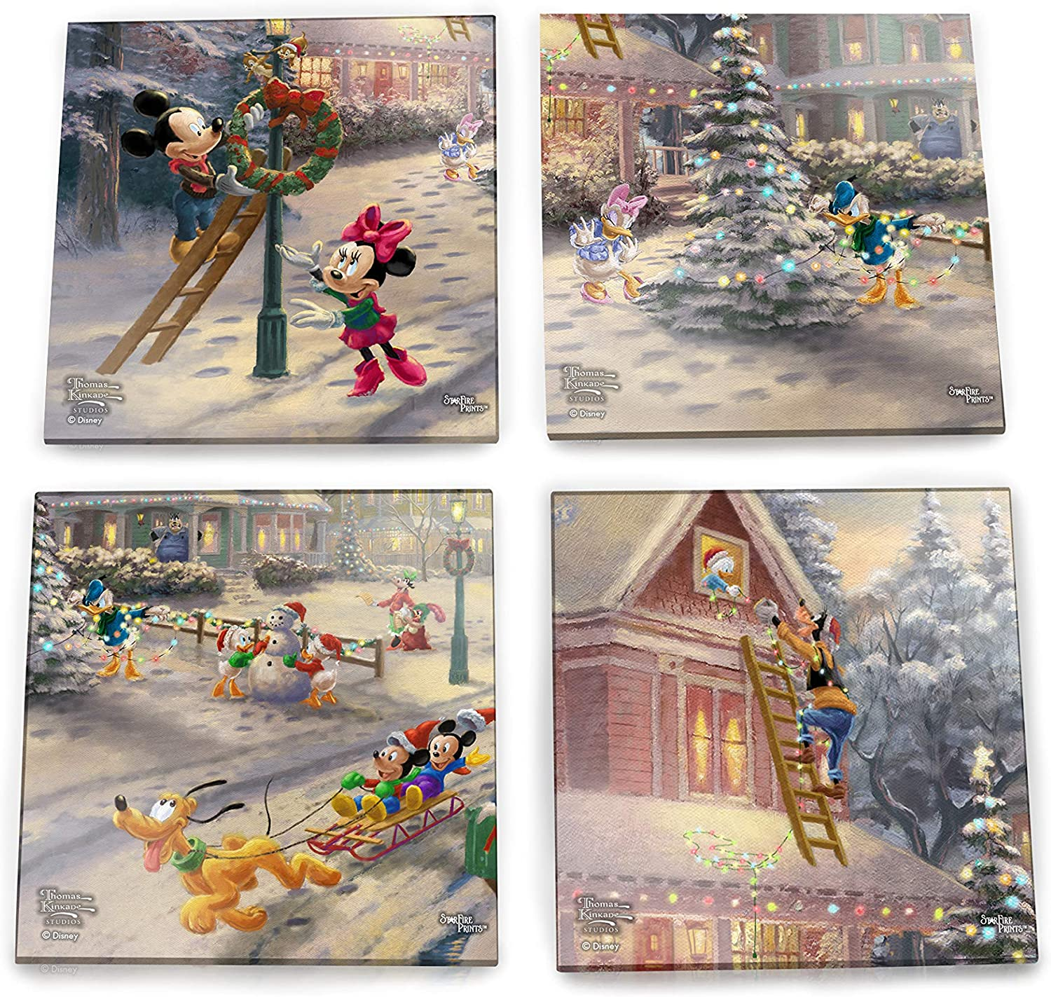 Disney – Mickey and Minnie Mouse – Glass Coaster Set – Victorian Christmas – For Gifting Collecting – Comes with stylish modern wooden holder