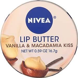 NIVEA Lip Butter Loose Tin, Vanilla & Macadamia Kiss, 0.59 Ounce